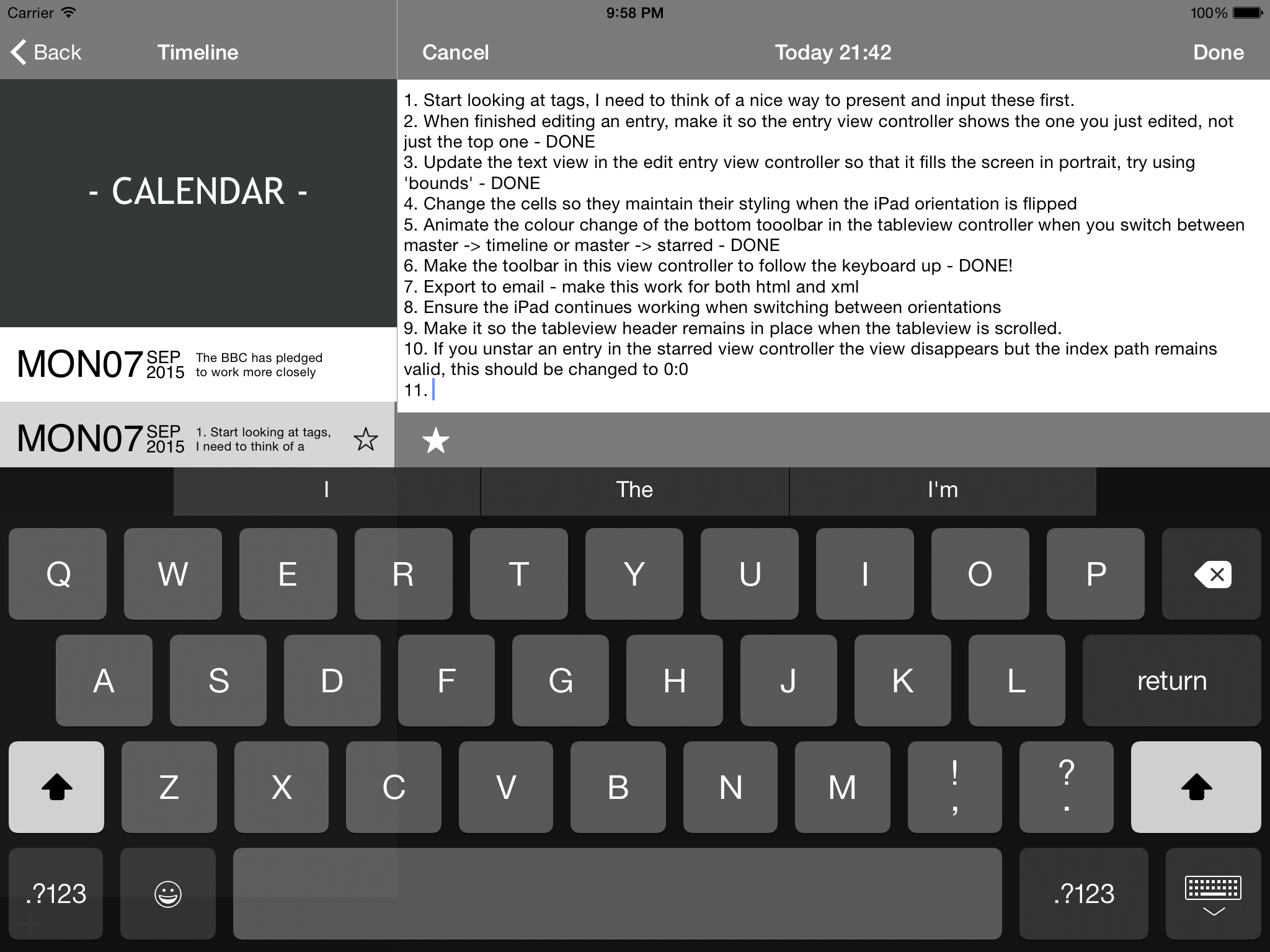 Journal application screenshot